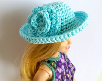 Light blue Barbie doll cloche hat with flower, fashion doll hat, clothes