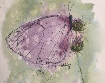 Purple butterfly watercolor, butterfly wall art, art for girls room
