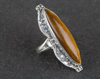 Tiger Eye Ring, Sterling Silver Ring, Boho Jewelry, Nickel Free Silver, Artisan Jewelry, Vintage Ring, Marquise Ring, BJR-343-TI