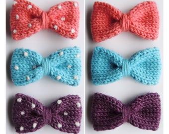 "KATE COTTON BOW 2.5"", mini knit bow, toddler bow, baby bow, headband, hair clip"