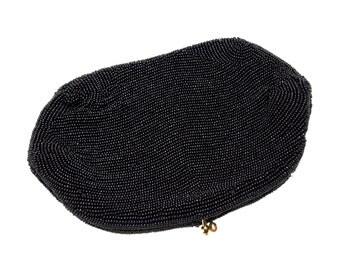 VINTAGE: Belgium Evening Clutch Bag - Black Beaded Bag - Night Bag - Wedding Bag - (19-D2-00007381)