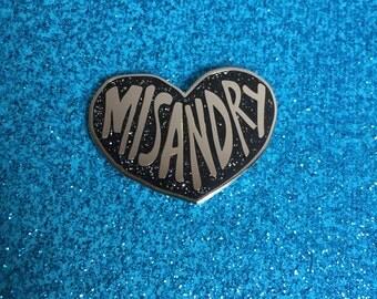 MISANDRY Heart BLACK GLITTER Enamel Pin