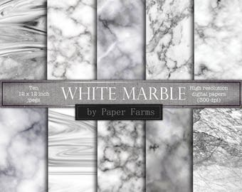 White marble backgrounds, white marble digital paper, white marble scrapbook paper, white marble textures, black and white, grey, marble