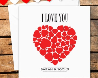 Personalised Happy Valentines Day Card Big Red Hearts I Love You For Her For Him Wife Husband Girlfriend Boyfriend