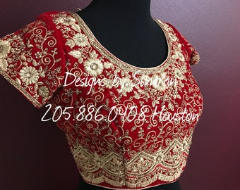 SINDHOORI - A Rich Red Velvet Bridal Lehenga