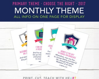 LDS 2017 Primary Theme, Choose the Right, Monthly Theme Signs, Printables