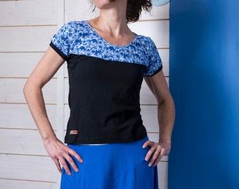 """Organic T-Shirt Olympic """"azulejo-birds - black"""""""