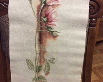 finished embroidered, handmade Rose Counted Cross