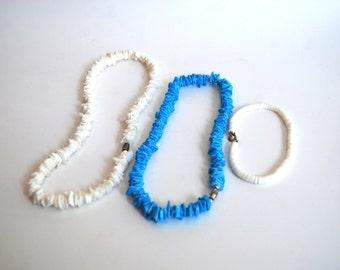 Retro Puka Shell Jewelry, Necklace and Bracelet