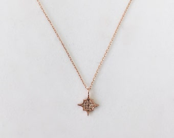 14K Solid Gold Necklace with diamonds, Sparkling-Shaped Necklace
