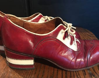 1970s Sebastian Raphael RARE platform leather disco shoes made in Spain fits like a womans 8.5