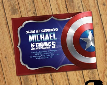 Captain America Invitation - Captain America Invite - Captain America Birthday Invitation - Birthday Party - Digital File Download