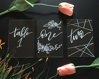Wedding Table Numbers - Handwritten Table Numbers - Wedding Signs -Rustic Table Numbers - Acrylic -Handmade -Custom- Handmade- Table Numbers