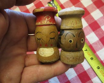 Old wood salt and pepper shakers, kitchen decor w/ free ship