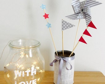 Kit 4 (windmill, flag and star) decorations for cakes, decoration or babyshower