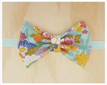 Bow headband - turquoise headband - turquoise floral headband - oriental headband - embellished headband