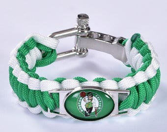 Boston Celtics Paracord Survival Bracelet with Adjustable Shackle