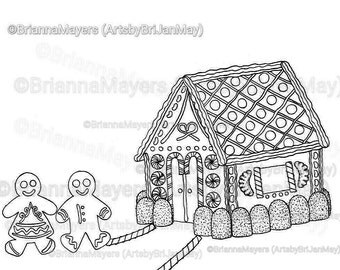 Gingerbread House coloring page; download & print, Christmas, gingerbread man, candy