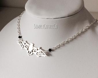 Simple Gothic Bat Necklace