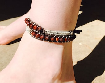 Wooden bead wrap around bracelet, ankle bracelet