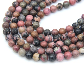 Rhodonite Beads 6 8mm Natural Rhodonite Matrix Beads Rhodonite Mala Beads Pink with black Gemstone Beads Rose Black Beads Pink Vintage Beads