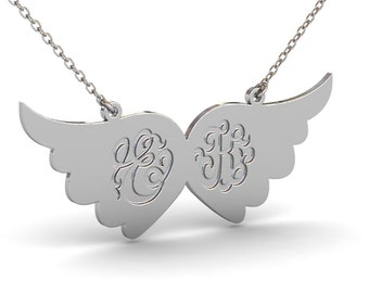 Angel Wings Necklace with Two Monogram Initial, Custom Monogram Necklace, Wings Necklace, Personalized Name Necklace, Two Initial Necklace