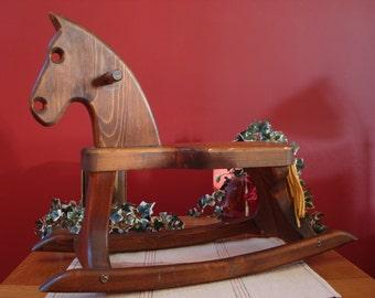 Vintage Child's Rocking Horse in Medium Brown