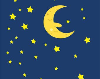 Sleeping Moon and Stars in the Night Sky Clip Art Collection, Sweet Dreams, Cute, Face, Illustration, PNG