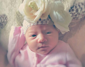 Double Rose Gentle Newborn Floral Headband