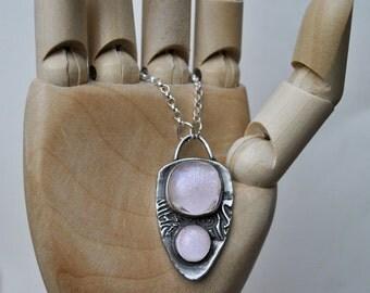 Pink Sparkle Dichroic Glass Fine Silver Pendant   Unique   OOAK   Gift   Women's Gift