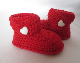 Warm booties of booties red with Merino foot 10 cm approx. gr. 16/17