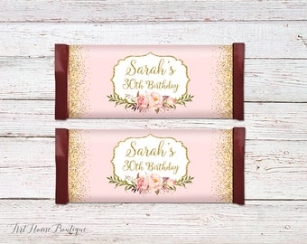 Birthday Candy Wrapper Favors, Any Age Candy Bar Wrappers, Floral Candy Wrappers, Birthday Candy Bar Wrapper Covers, #BW02