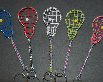 Beaded Lacrosse Keychains