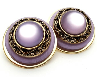 Intricate Gold tone and Lavender Large and Thick Stud Earrings Vintage Purple Hard Plastic from the 80s Round Rockabilly Mad men mod outfit
