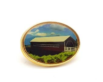 Covered Bridge Painting Lapel Pin Enamel on Gold tone Metal Vintage Country Road Barn Farm Farming Brooch