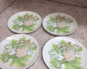 Vintage Set of four salad plates / The Salad Bar by Shafford Pattern