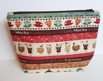Coffee Time! Medium Zippered Project Bag,  2 Skein, Knitting Bag, Crochet bag, Makeup Bag, Coffee, Latte, Mocha