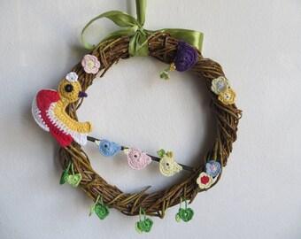 Mothers Day Wall Wreath Crochet Birds Crochet Easter Wreath Crochet Spring Wreath Rustic Wall Window Decor Housewarming Gift Willow Wreath