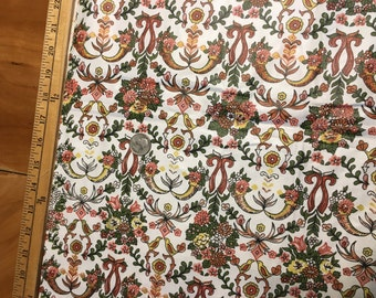Vintage Bohemian Hippy 1970s Fabric 1 yards Linen Pink Red, Teal, Gold