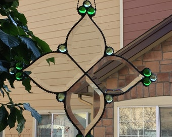 Stained Glass - Clear Beveled Glass - Window Hanging - Suncatcher
