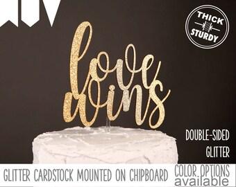 love wins cake topper, wedding cake topper, engagement cake topper, Glitter party decorations, cake topper, cursive topper