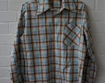Vintage 1970s Men's Cotton Plaid Shirt UK 36