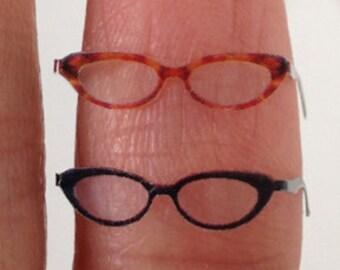 Ivy Dollhouse Miniature Eyeglasses Eyewear  Black or Tortoiseshell 1:12 inch scale