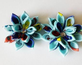 Flower Hair Bows - Kanzashi Hair Clips - Flower Hair Clips - Blue Hair Flower - Rainbow Hair Flower - Hair Flowers - Hair Clips