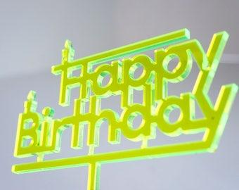 Happy Birthday neon yellow Topper