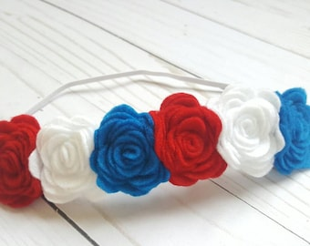 Red, white, and blue headband- felt flower headband- 4th of July headband- baby headband- patriotic headband- Veteran Day- baby flower crown