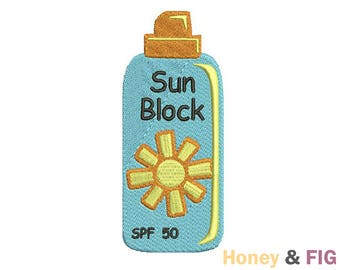 Sunblock Embroidery Design-Summer Embroidery-Sunblock Embroidery Files-Sunscreen Design File