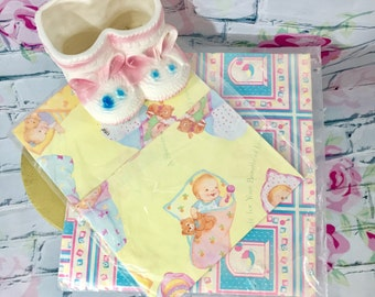 Vintage New Baby Wrapping Paper, Set of Two Packages, Baby Shower Gift Wrap, Baby Crafting Paper, Three Sheets Vintage Gift Wrapping Paper
