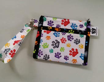 Paw Print Clutch, Evening Clutch, Clutch, Purse, Zippered Pouch, Phone Pouch, Evening Bag, Wallet, Wristlet Clutch, Bag