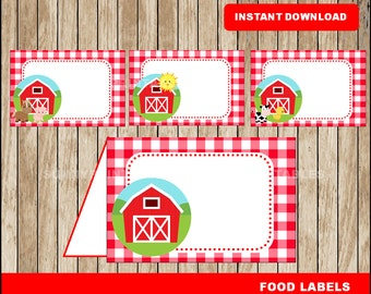 Farm food labels; printable Farm tent cards, Farm party food tent cards instant download